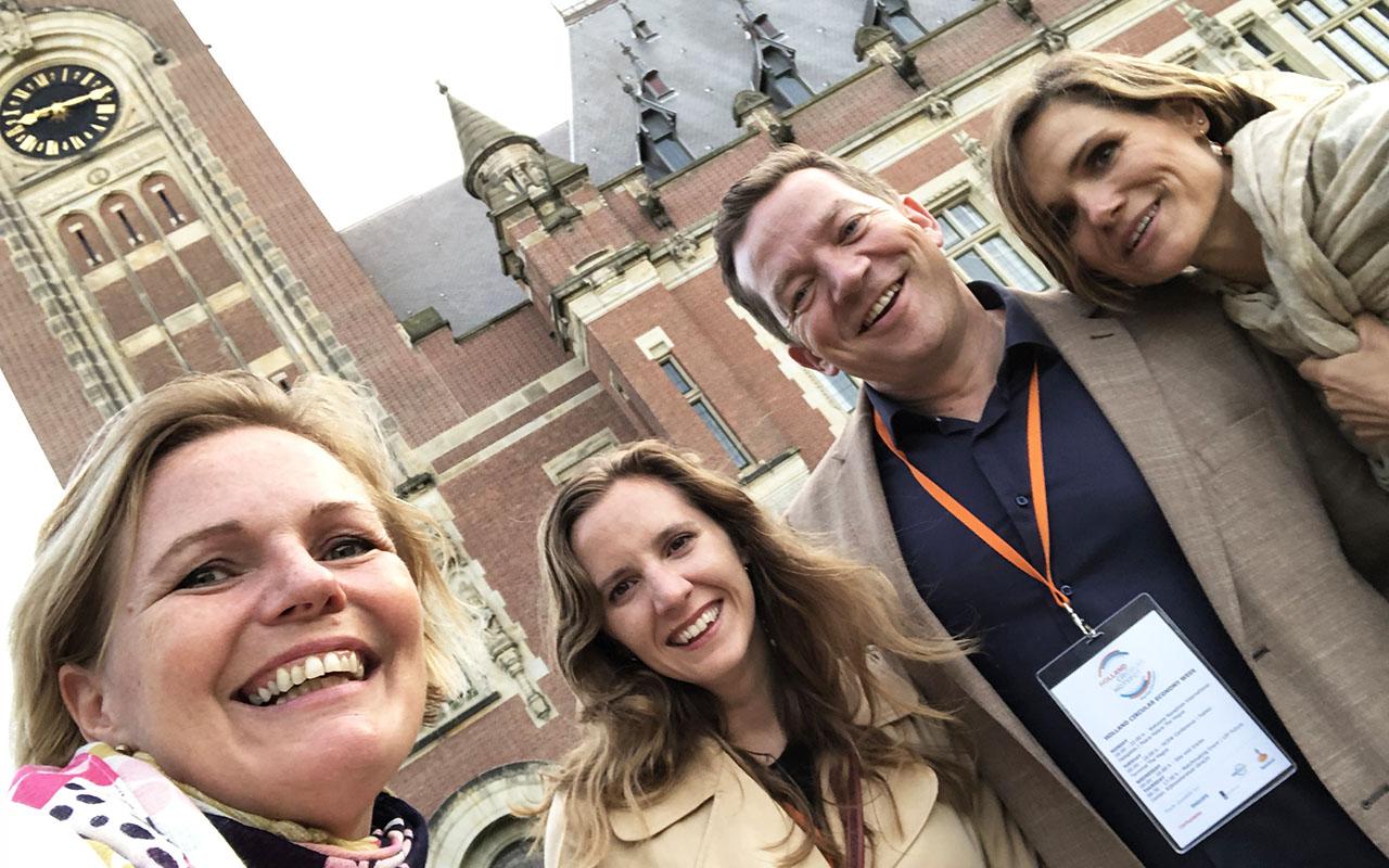Cathrine Barth (Circular Norway), Lene N. Sundalskleiv (Regnskap Norge), Tarje Bjørgum (Abelia) og Anne Solgaard (Circular Norway) på Holland Circular Economy Week i Haag.